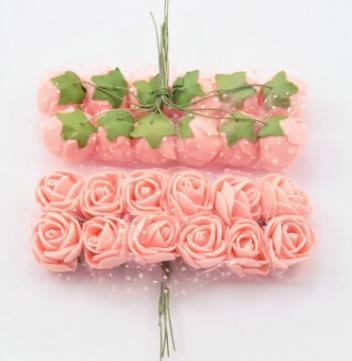 Фото Цветы искусственные Роза латексная  2 - 2,2 см ,  Персиковая  с  фатином.   Упаковка  12  цветочков .