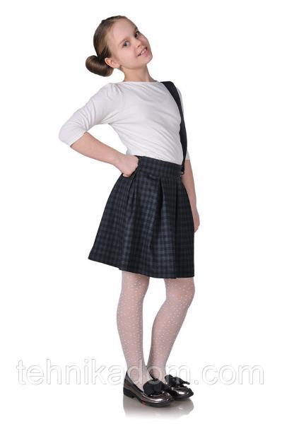 Детская юбка-бантовка серый кубик
