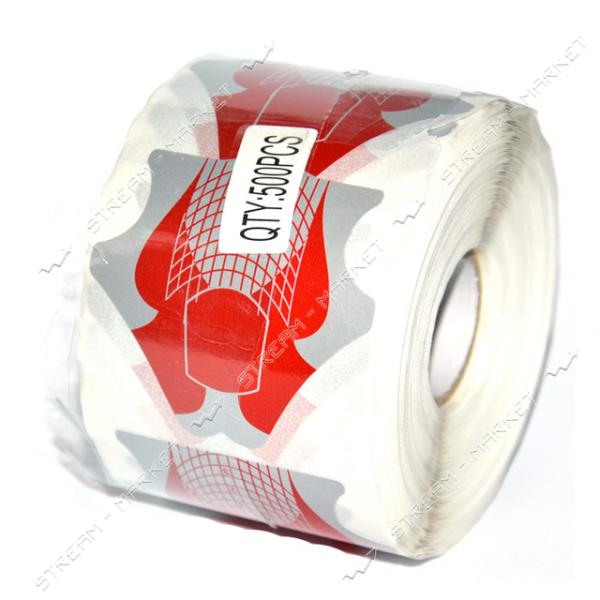 Бумажные формы для наращивания ногтей красно-серые