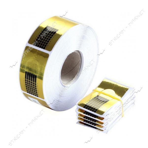 Бумажные формы для наращивания ногтей узкая Золото