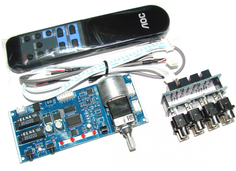 Моторизированный регулятор громкости с пультом + коммутатор входов