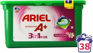 капсулы для стирки универсальные ARIEL A+, 38 шт.