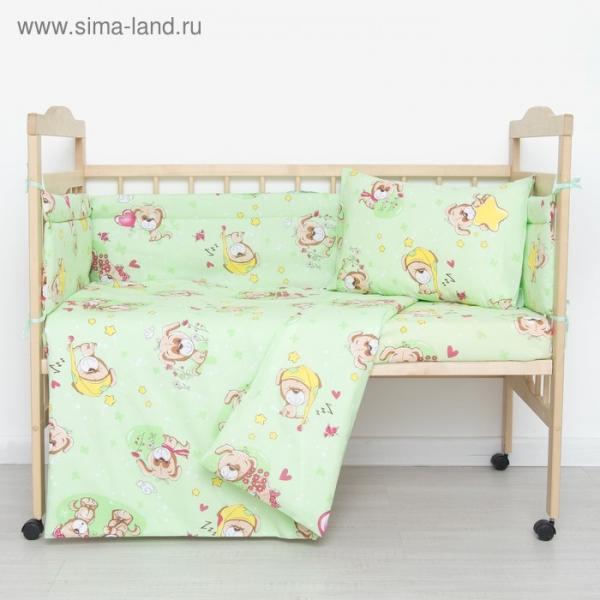 """Комплект в кроватку """"Малышок"""" (6 предметов), цвет зеленый"""
