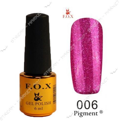 Гель-лак F.O.X Pigment №006 Фуксия с малиновыми блестками 6мл