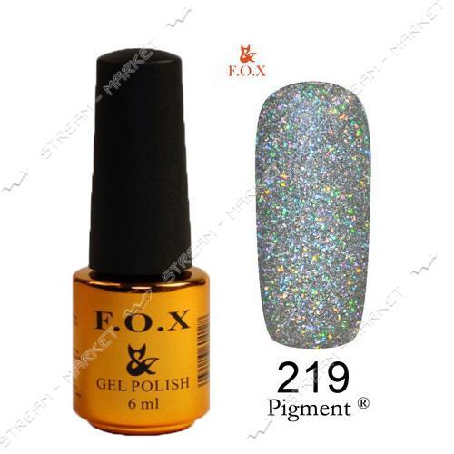 Гель-лак F.O.X Pigment №219 Серебряный голографический глиттер 6 мл