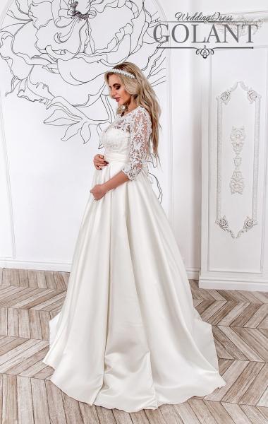 Атласное свадебное платье с кружевными рукавами для беременных Милагрос