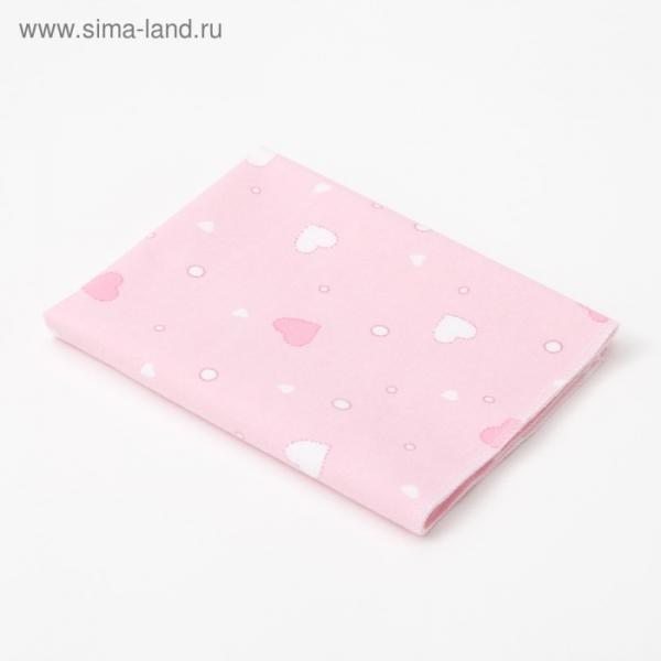 Пелёнка Крошка Я «Розовые сердца» 40×60 см, фланель, 160 г/м², 100% хлопок