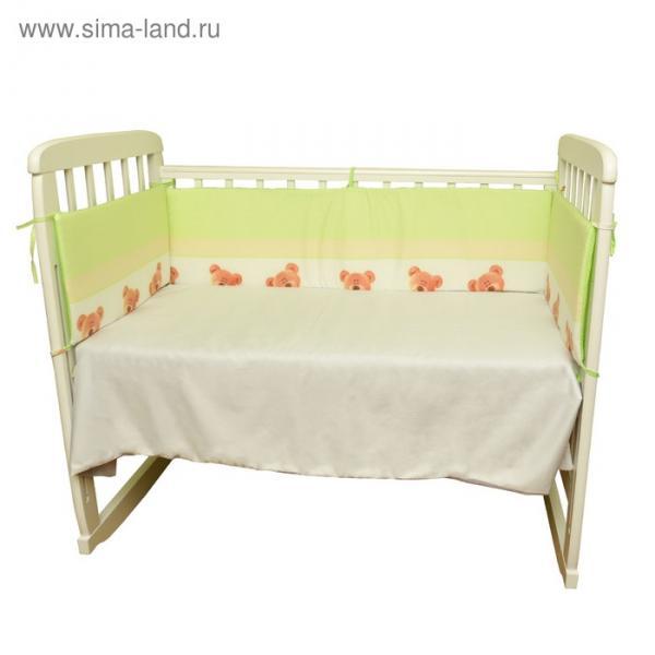 """Бортики в кроватку """"Любопытный мишка """", цвет зеленый"""