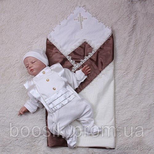 """Крестильный набор """"Жемчужный"""" для мальчика (шоколад/молоко) 62"""