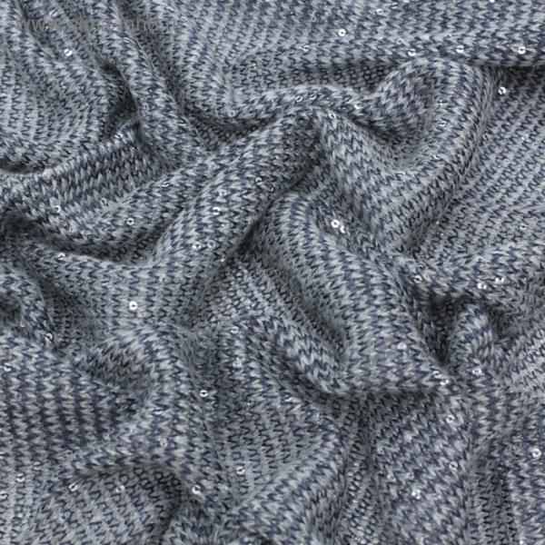 Трикотаж вязаный, шерсть с пайетками, ширина 150 см, цвет тёмно-синий