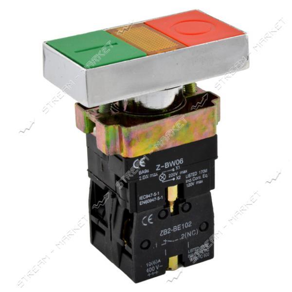 Кнопка управления XB2-BW8365 двойная с подсветкой старт/стоп без маркировки зеленая