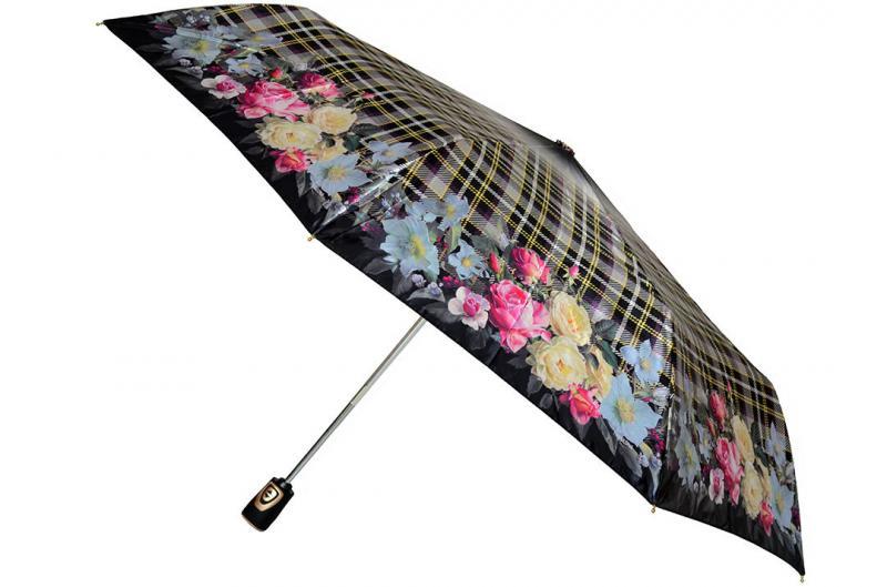 Женский зонт клеточка Три Слона ( полный автомат ) арт. 113B-04