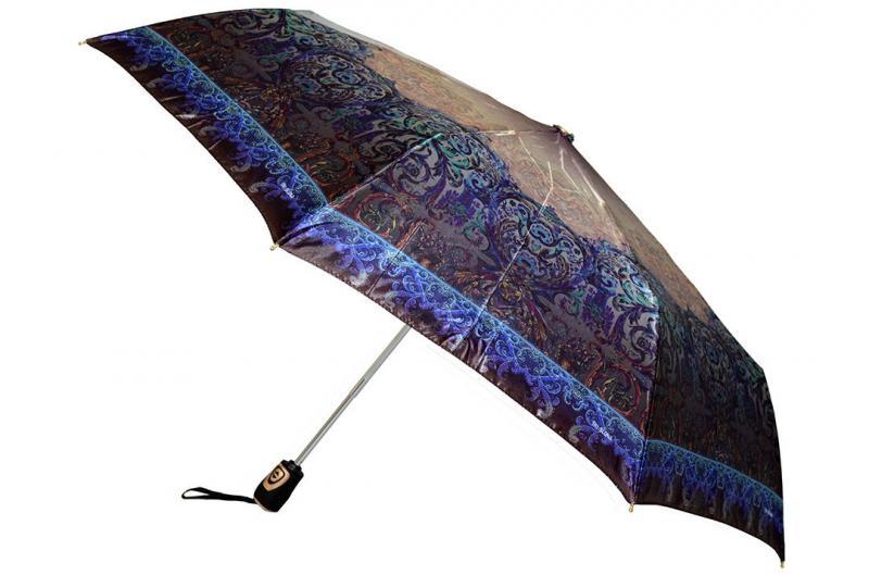 Женский зонт коричнево-синий Три Слона ( полный автомат ) арт. 100J-09
