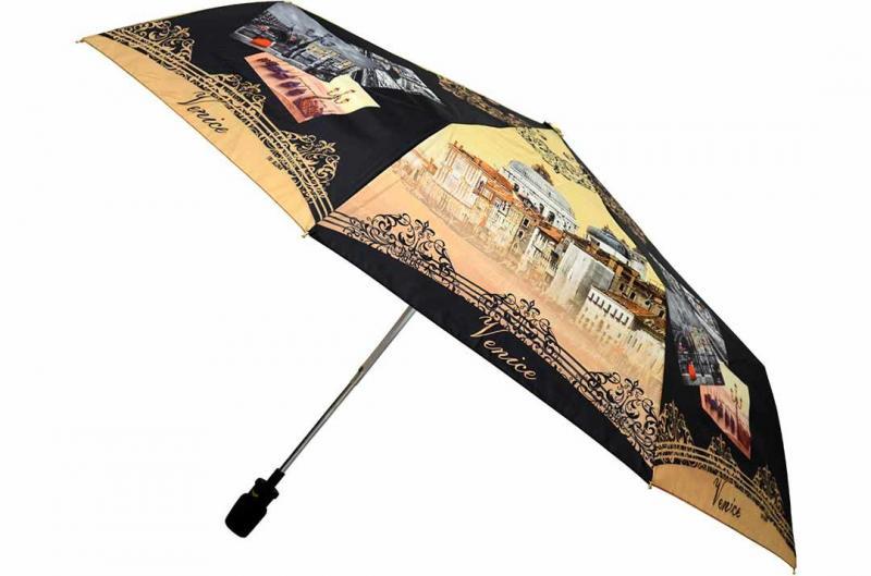 Женский зонт коричнево-черный Три Слона ( полный автомат ) арт. 101K/AC-07