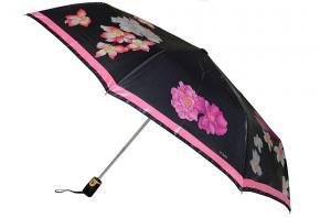 Фото  Женский зонт черно-розовый Три Слона ( полный автомат ) арт. 125E-02