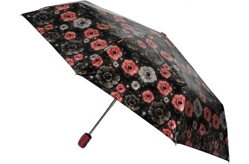 Женский черный зонт с цветами Sponsa ( полный автомат ) арт. 8139-05