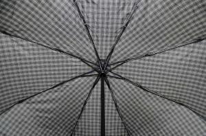 Фото  Серый мужской зонт в клеточку Три Слона ( полный автомат ) арт. 750-01