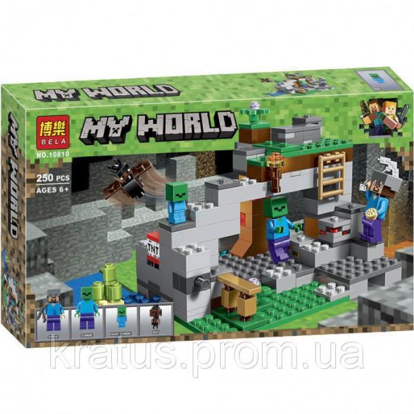 """10810 Конструктор Bela """"Пещера зомби"""" (аналог Lego Майнкрафт, Minecraft 21141), 250 дет"""