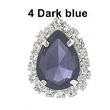 Металическая  основа  19 * 25 мм.  с  каплей   Тёмно  -  Синего  цвета  в  цапах   с  серебряной  цепочкой  и  белыми  стразами.
