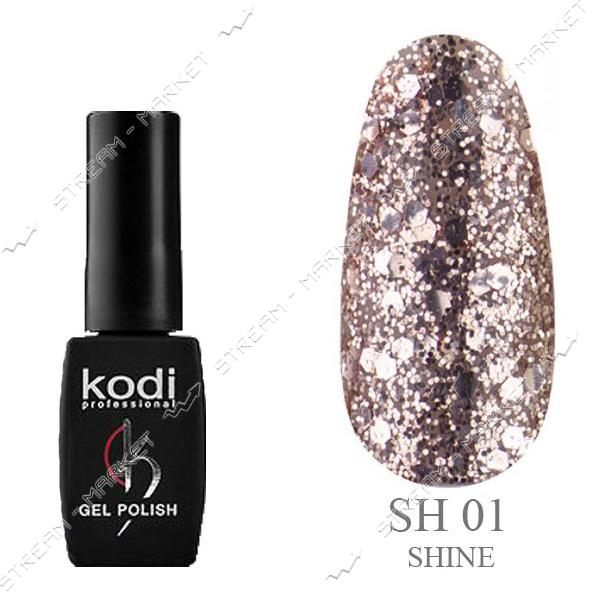 Гель-лак Kodi Shine №01 Золото брокат и глиттер 8 мл