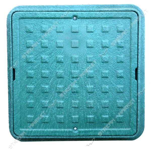 Люк квадратный 500*500 б/з пластик зеленый (1т) (размер крышки 500*500мм, высота люка h-90мм)