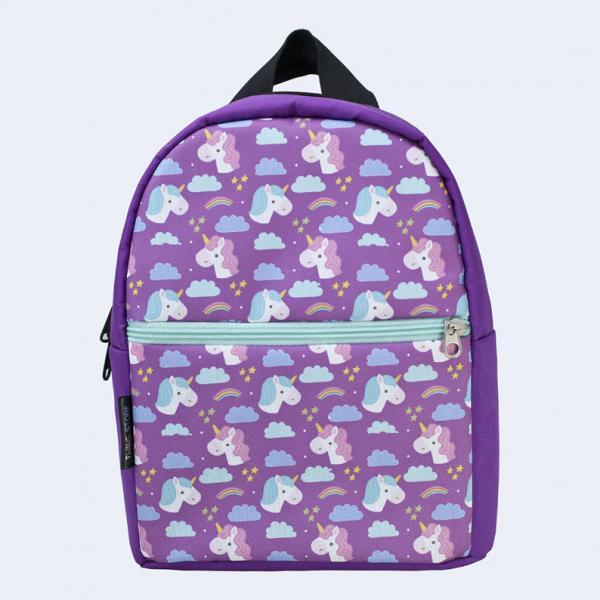 Детский фиолетовый рюкзак с единорогами