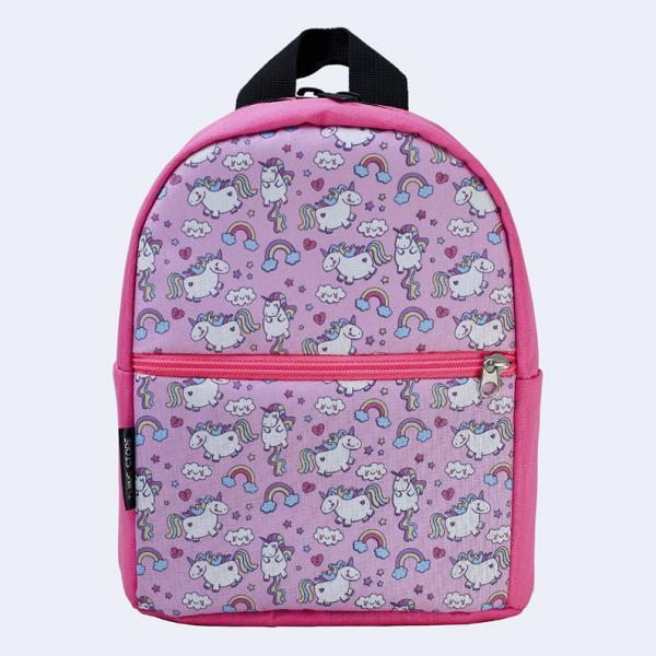 Детский розовый рюкзак с единорогами