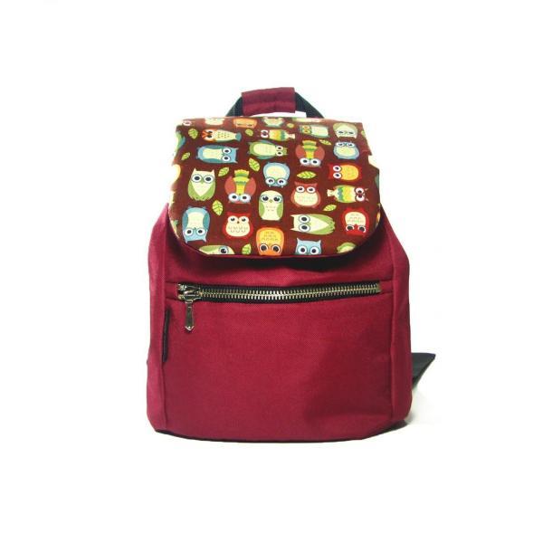 Детский бордовый рюкзак с совами