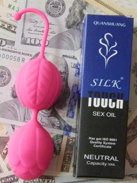 Вагинальные шарики Ben WA balls Kegel розового цвета + смазка touch silk 30ml