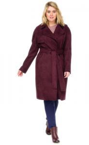 Фото  Пальто женское из эко замши