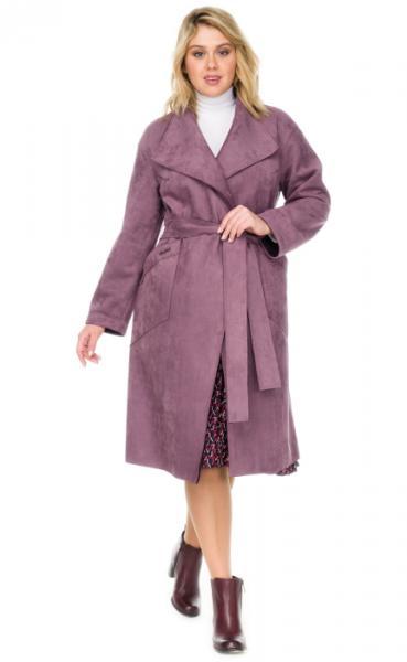 Пальто женское прямого силуэта из эко замши.