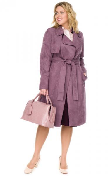 Пальто женское прямого силуэта эко замши.