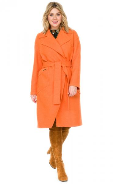 Пальто женское большого размера из вареной шерсти