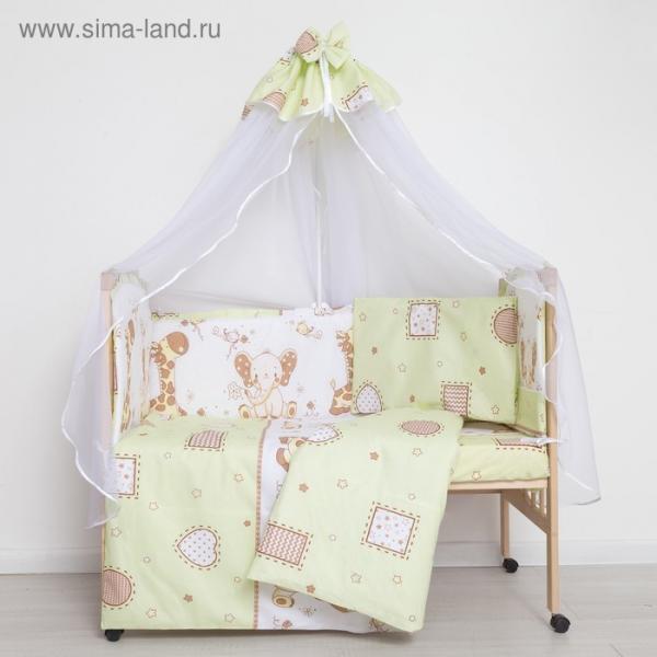 """Комплект в кроватку (7 предметов) """"Жираф и Слоненок"""", цвет зеленый, бязь, хл100%"""
