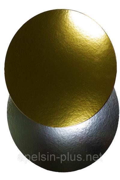 Подложка кондитерская 24 см золото-серебро двухслойная (упаковка 5 штук)