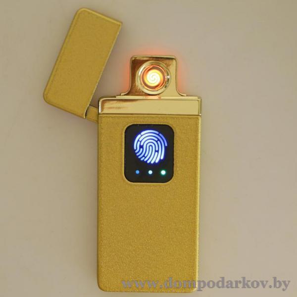 Фото ПОСМОТРЕТЬ ВЕСЬ КАТАЛОГ, Курительные принадлежности, Зажигалки Зажигалка электронная в подарочной коробке, USB, спираль, сенсорная, золотая, 7.5х12 см