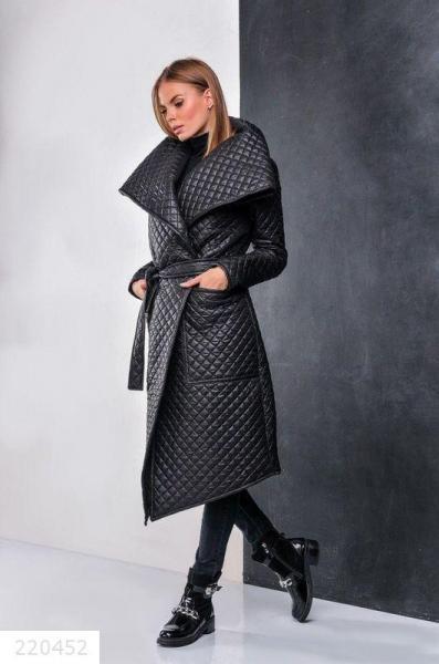 Новинка сезона! женское стеганное черное пальто размеры: 42-44,46-48,50-52