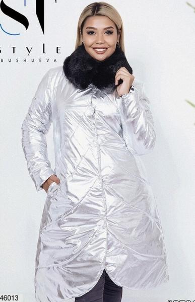 Женское пальто стеганое серебро размеры: 48,50,52