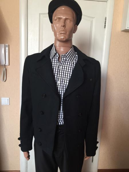 Пальто мужское короткое двубортное серое черное Antony Morato черное46