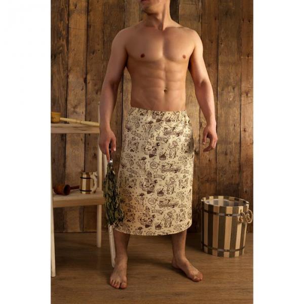 """Килт для бани Collorista """"Медведь"""", 75х150 см, хлопок,вафельное полотно"""