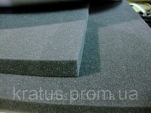 Фото Поролон, синтепон, синтепух (холлофайбер), Темно-серый поролон Поролон листовой темно-серый 1х2м  толщина 100мм