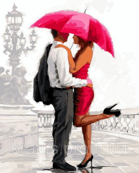 """VP 451 """"Влюбленные под алым зонтом"""" Роспись по номерам на холсте 40х50см"""