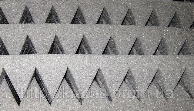 Акустический поролон серый  «пирамида» лист 1х2м толщина 70мм