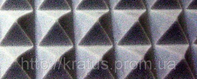 Фото  Акустический поролон «пирамида» лист 1х2м толщина 30мм темно-серая