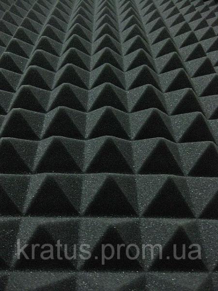 Акустический поролон «пирамида» темно-серый лист 1х2м толщина 50мм