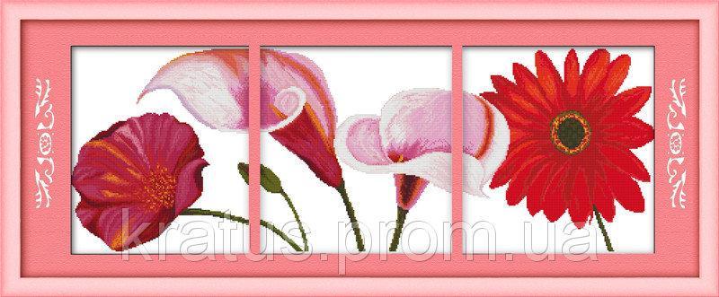 """Н 136 """"Красные цветы"""" Набор для вышивания крестом 107х37 см"""