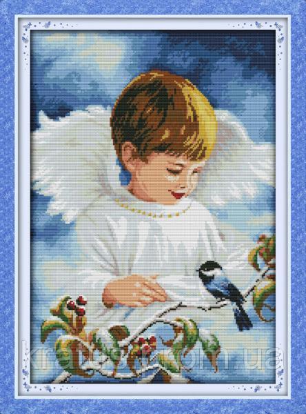 """R 265 (1) """"Ангел и птичка"""" Набор для вышивания крестом 46х64 см"""