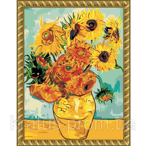 """KH 098  """"Подсолнухи Ван Гог"""" картина по номерам на холсте 40х50см"""