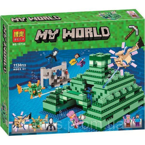 """10734 Конструктор Bela """"Подводный храм"""" (аналог Lego Майнкрафт, Minecraft 21136), 1134 дет"""