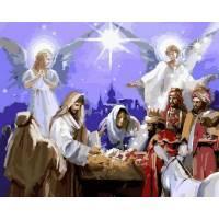 """VP 995 """"Рождество Христово"""" Роспись по номерам на холсте 40х50см"""